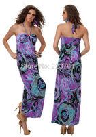 Plus Size New Fashion 2014 Bohemian Long Summer Beach Dresses Peacock Print Halter Neck Casual Dress