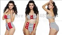 2014 explosion models bow waist retro dot bikini swimsuit edition women's swimwear manufacturers wholesale Free Shipping