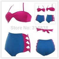 Factory wholesale high waist swimsuit cover the belly was thin sexy women bow steel prop split bikini swimwear Free Shipping