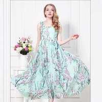Hot Selling Summer Dress 2014 Sexy Women's dresses High Fashion Slim Flower Printed Chiffon Long Maxi Vest Cocktail Dresses S-XL
