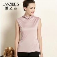 knitted silk camisole summer clothes 100% mulberry silk thin-look tall collar sleeveless shirt b042