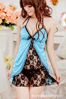 Free Shipping Sexy Black Camisole Chemise Dress Women Lace Sleepwear Female Transparent Babydoll Lingerie Temptation Underwear