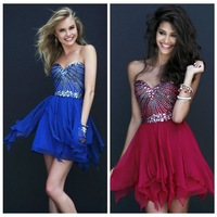 Free Shipping Strapless Sweetheart Layered Chiffon Beads Short Mid-thigh ruffled Party Cocktail dress Prom Dress 2014 (1931)