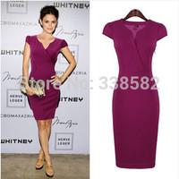 New 2014 Elegant  Ladies' Sexy V-Neck Fashion Celebrity Bandage Pencil Dress Women Slim  Knee-Length Bodycon Dress