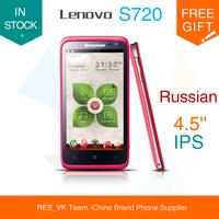 original lenovo S720 S720i Phone MTK6572 Dual Core Android 4.2 RAM 512MB RAM 4GB ROM 4.5Inch FWVGA Screen russian polish spanish