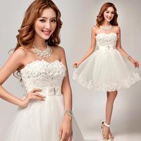 Flowers Duolei Si White Bra Bridesmaid dresses 2014 Princess chiffon shorts vestido de madrinha plus size real sample 8272