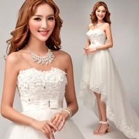 Free shipping Specials royal princess short front long back tiered Lace Flower & Crystal train wedding dress zkc