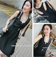 2014 summer Women's Clothing two-piece sleeveless dresses the thin long adjustable in temperament