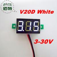 "Freeshipping V20D 10pcs/lot 3V~30V DC Digital Display Voltmeter Three Bit White 0.36 ""LED Voltage Meter"