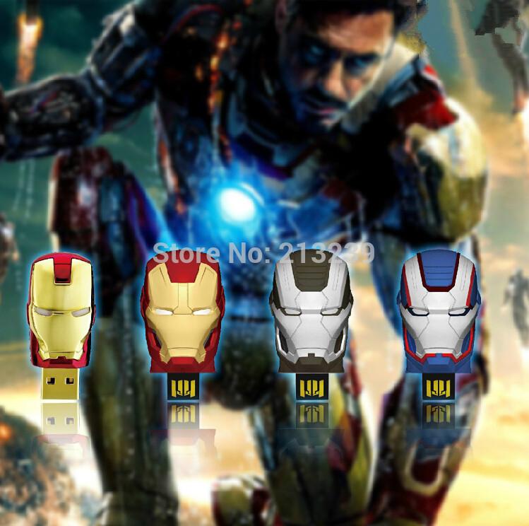 New Fashion LED light Iron man heads usb 2.0 memory flash stick pendrive Freeshipping Genuine 4gb/8gb/16gb/32gb(China (Mainland))