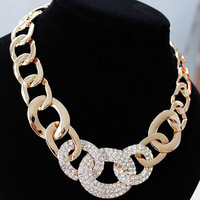 Cheap!!! Gold choker necklace crystals steampunk 2014 new free shipping N244