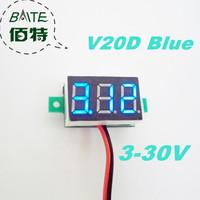 """Freeshipping V20D 5pcs/lot 3V~30V DC Digital Display Voltmeter Three Bit Blue 0.36 """"LED Voltage Meter"""