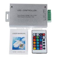 100pcs/lot  Aluminum shell 24 key ir led rgb controller 12v - 24v for 5050/3528 led strip light and RGB LED module