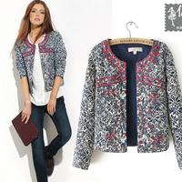 NAIULA New Fashion 2014 Europe and America Winter Coat Women Short Slim Printing Cotton Coat Parka Winter Jacket Women AS1263