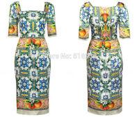 New 2014 career women vintage fashion patterns print sheath pencil dress knee length square collar office lady OL style dresses