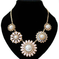 Cheap!!! 2014 jewerly flower pearl necklace women gold chain N166