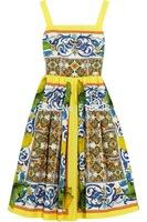 2014 summer new brand vintage fashion porcelain print ball gown dress lemon mid-calf spaghetti strap cotton dresses high quality