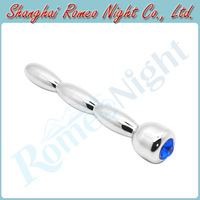 Novelty Stainless Steel Solid Urethral Sound Penis Plug w/ Diamond, Male Sex Toys Adult Sex Products