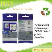 NEW - TZe Standard Adhesive Laminated Labeling Tape, 1 inch , Black on White - TZE251 label