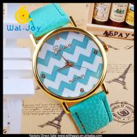 100/lot women wave stripe Geneva watch leather strap(WJ-1512)