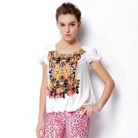 2014 summer new European fashion ladies printing station crew neck short-sleeved chiffon shirt women t-shirt explosion models