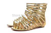 Free Shipping Women Cool boots Golden High-top Open-toe Flat Sandals Size 35-41