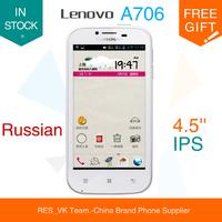 "Lenovo A706 Quad Core Qualcomm MSM8225Q phone 1.2GHz 1GB RAM 4GB ROM with 4.5"" IPS Screen Smart phone Russian language"