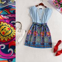 Free shipping! 2014 new O-Neck Sleeveless Slim striped silk dress printing patchwork striped dress B184701