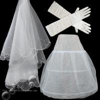 Three-piece bridal  veil gloves  three times a veil hold special three-piece suit K13 mermaid petticoat