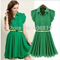 2014 new summer Lapel single breasted waist pleated pure leisure dress