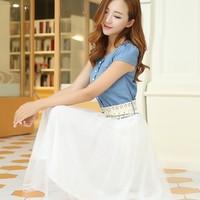 2014 Summer New Arrival  Short Sleeve Denim Patchwork Gauze Belt Sweet Women's Denim Dress Full Dress