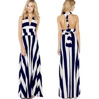 women summer dress 2014 Wide Stripe mopping the floor long Dress