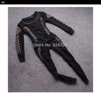 2014! New Autumn European Style Rivets Skull Kito Heavy Slim Leisure Suit Fashion Sweatshirt + Pant Women Sport Suit #L0005