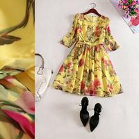 Free shipping! 2014 new O-Neck Animal owl Slim three quarter Sleeve Floral dyeing silk dress B184150