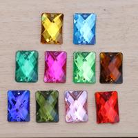 2014 new arrival 100pcs mix color rectangle 13x18mm  rhinestones Sew on Rhinestones Acylic rhinestone buttons Flat back gems DIY