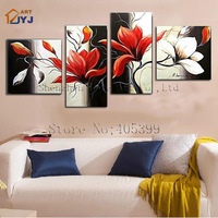 Great Quality  4PCS Canvas Oil Painting ,100% Handmade Modern Abstract Wall Art Painting Home Decoration Gift TH060
