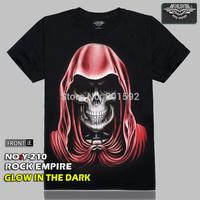 Free Shipping Punk Red Hat Skull  Men's 3D Creative T-Shirt Three D Short Sleeve Tee Shirt  Glow in the Dark T-Shirt