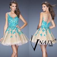 Vnaix SV401 New Arrival Elegant Tank See Through Mini Length Lace Short Prom Dresses Cocktail 2014