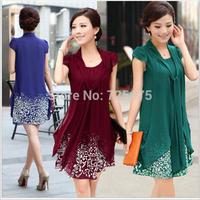 High quality!2015 Summer Women's Dresses Crew Neck Chiffon knee length chiffon dress print dress 9 Colors S M L XL Drop Shipping