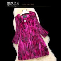 Queen 2014 mink overcoat female medium-long mink fur coat