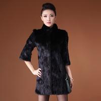 Queen 2014 autumn mink hair fur overcoat female medium-long slim fur coat
