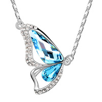 Fashion crystal accessories short design crystal necklace female pendant butterfly