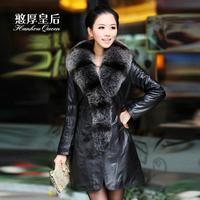 Queen 2014 leather clothing long design slim outerwear fox fur sheepskin female