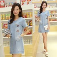 New Ariival Fashion Plus Size Clothing Casual Denim Dress Slim O-neck Short Sleeve Denim Short Dress Free Shipping