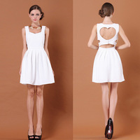 Free Shipping Back fashion heart racerback one-piece dress pleated