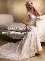 With Detachable Cap Sleeve Elegant Sweetheart Appliqued Convertible Wedding Dress Mermaid Lace RG1527