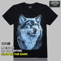 Free Shipping Glow In The Dark Wolf Designer Men's 3D T-Shirt Three D Short Sleeve Tee Shirt