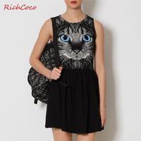 Blue Eyes Cat Printed Cotton Dress Women Summer Dress 2014 Casual Dress