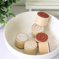 Circle wool flower-shaped pattern wool stamp vintage photo album 6 pcs