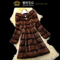 Queen 2014 mink hair fur overcoat women's medium-long slim outerwear